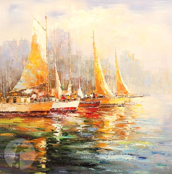 картины с причалами и лодками